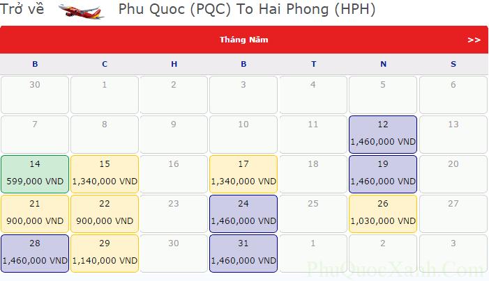 Bảng giá vé tham khảo chiều đi Hải Phòng - Phú Quốc tháng 5