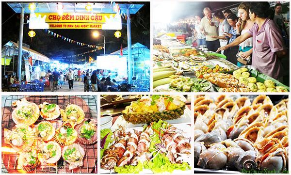 Chợ đêm Dinh Cậu tràn đầy các món ăn hấp dẫn từ hải sản tươi sống