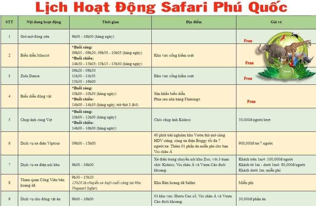 Thời gian hoạt động của các trò chơi và tiết mục biểu diễn trong Vinpearl Safari Phú Quốc